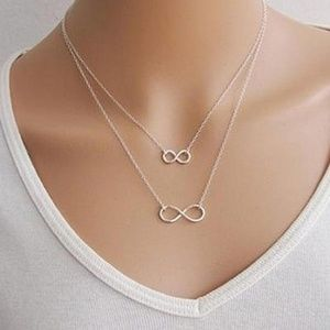 Jewelry - Double Infinity Gold Silver Necklace B17